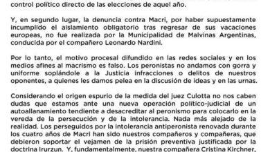 Photo of Respuesta del PJ por el «autoallanamiento» de Macri: «Los peronistas no andamos con gorra»